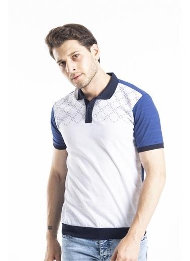 Deri Effect Erkek Desenli Polo Yaka Tshirt Lacivert